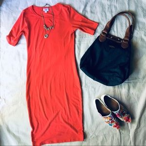 Lularoe Red Julia Bodycon Midi Dress 👗 xs